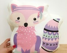 Nursery Pillow, Kids pillow, Tribal Fox Cushion, Fox Nursery Cushion, Fox pillow, Pink Nursery, kids cushion, fox cushion, woodlands, pink