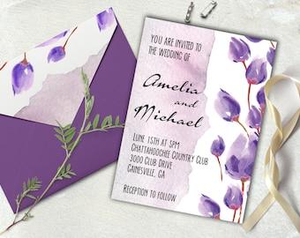 Wedding invites Watercolor invite Wedding invitation Wedding invitation printable Floral purple wedding invite.