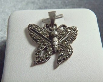 Sterling Silver Marcasite Butterfly Pendant RP3