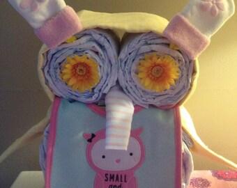 Owl diaper cake girl