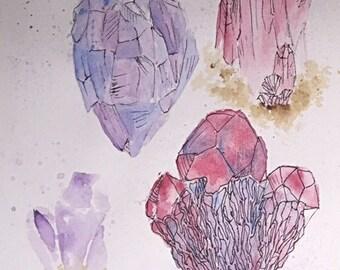 Crystals Watercolor and Ink Original