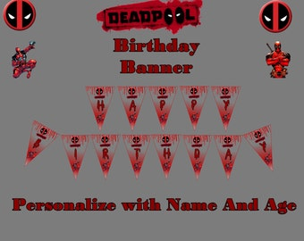 Deadpool Birthday Party Banner