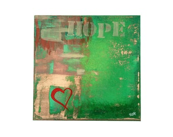 Hope - Abstract acrylic painting Art abstract modern green brown gold ochre red heart