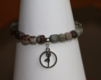 Wild Horse Jasper Stone Beaded 7 Inch Bracelet with Yoga Charm Wholeness and Self-Awareness