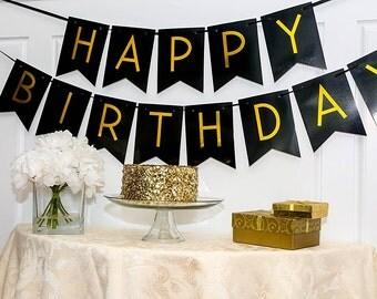 Black Happy Birthday Bunting Banner - Birthday Party Decorations