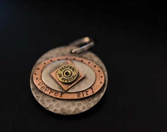 Custom hand stamped round keychain, pendant or pet tag with ovals, diamond and federal 38 special bullet end accent