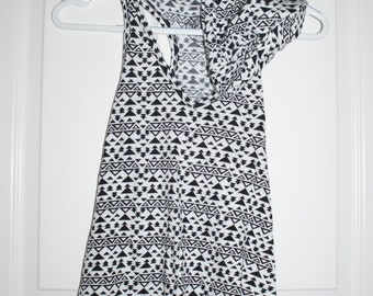 black and white patterned hooded tank top