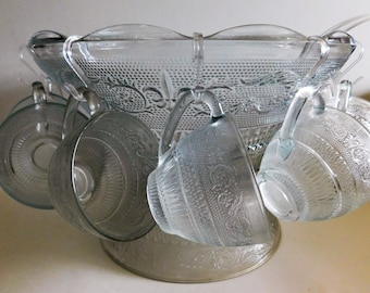 Punch Bowl, Vintage Punch Bowl Set, Etched Glass Pattern Punch Bowl, Vintage Pedestal, Collectible 12 Glass Punch Cups and a Plastic Ladle