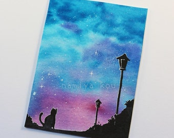 ACEO Original, Watercolor Galaxy Art, Cat and Lamppost Silhouette, Beautiful Night Sky, Aquarelle Painting, Whimsical Art, OOAK Vibrant