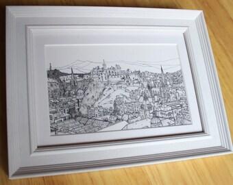 Edinburgh Castle and City Sketch