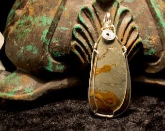 Wire Wrapped Dead Camel Jasper Pendant