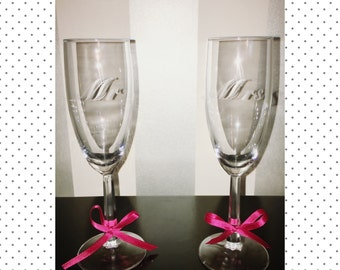 Etched Toasting Flutes (Set of 2): Mr and Mrs Champagne Glasses, Etched Champagne Glasses
