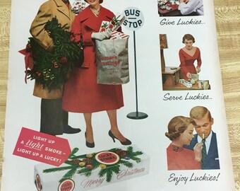 Lucky Strike Cigarette Christmas Vintage Ad 1957