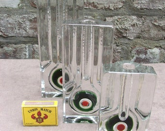 OP ART trio of Walther green red target bull's-eye Solifleur glass vases Machine Age Walther Germany