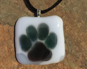 Fused Glass Paw Pendant