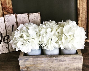 Mason Jar Planter box centerpiece, Centerpiece, Wedding,Farmhouse decor, Mason jar decor