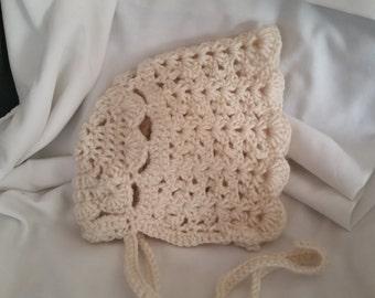 Vintage crochet baby bonnet