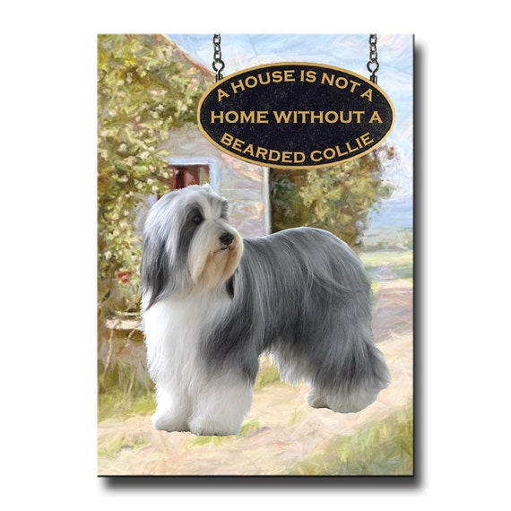 Bearded Collie a House is Not a Home Fridge Magnet
