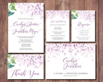 Printable Wedding Invitation, Floral Wedding Invitation, Lilac Wedding, Purple & Gray Wedding Invite, Save the Date, Garden Invite