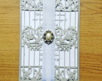 Bird cage wedding invitations