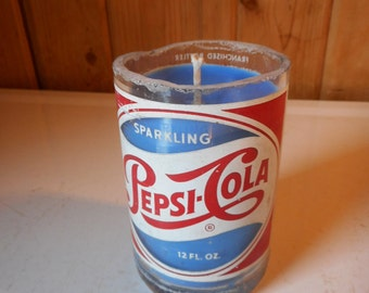 Pepsi-Cola Candle--Up-Cycled Re-Purposed Vintage Soda Pop Glass Bottle Container Candle