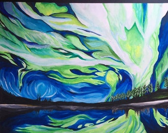 Landscape Northern Lights Abstract watercolor painting