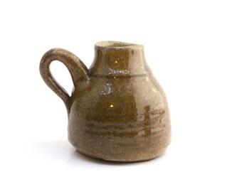 Small Rustic Wheel Thrown Ceramic Green-Beige Vase Jug
