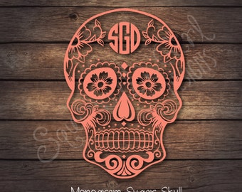 Sugar Skull Monogram Decal