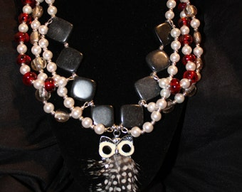 Triple Strand Owl Necklace