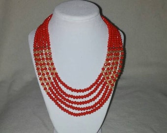 Red & Gold Bead Necklace