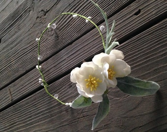 White and Sage Flower Crown