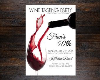 Wine tasting birthday invitation, wine tasting invitation, wine tasting card, wine glass invitation, wine drinking invitation, wine tasting