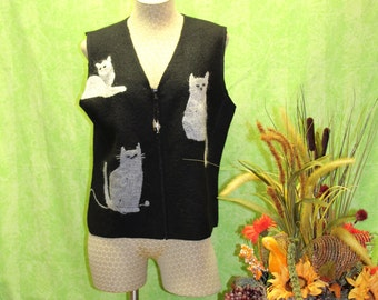 wool vest with cats