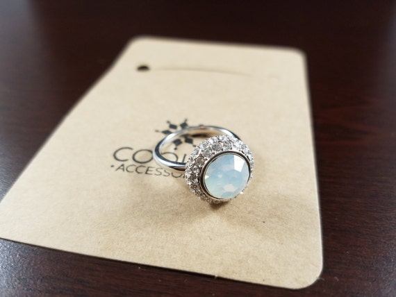 Blue Swarovski Stone Sterling Silver Ring. adjustable size