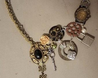 Steampunk Asymmetrical Cascade Necklace