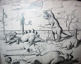 Extinction of the dinosaurs, pencil drawing
