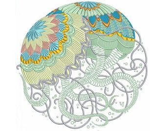 Bohemian Sea JellyFish Machine Embroidery Nautical Design Pattern Instant Download ZIP