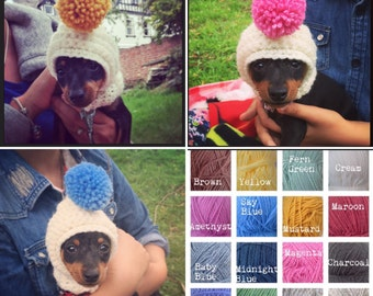 The bobble dog hat, snood for your doggie. Uk seller. Chihuahua, yorkie, minature, tea cup dogs . Choose from 16 colours