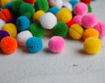 50 PCS x Mini Pom Poms Handmade in Mixed Colors