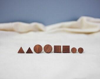 geometric wooden earrings • wooden studs •  macore studs • wooden stud earrings • triangle earrings • minimalistic earrings • wooden jewelry