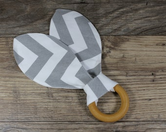Bunny Ear Teether | Wooden Teething Ring | Modern | Perfect Gift | Handmade in Canada | Unique | Teething | Baby | Kenton Creations