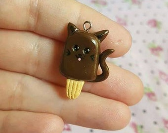 Chocolate Kitty Cat Popsicle charm