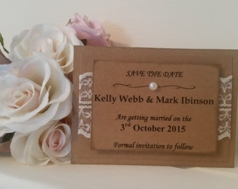 Rustic Save the Date, vintage style lace and pearl detail, shabby chic invite, save the date