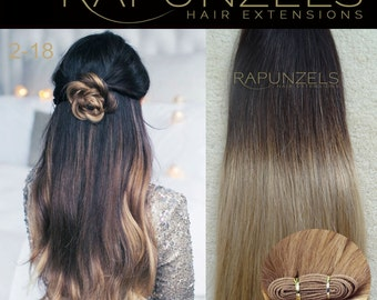 "20"" Dip dye ombre hair extensions weave weft half head 65gram grade AAA indian remy hair"