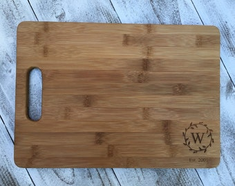 bamboo cutting board monogram cutting board cutting board engraved cutting board wedding gift bamboo