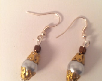 Drop earrings - handmade with silver pearl-like beads and gold filigree and silver plated fixtures item #007 by CraftyLittleMonkeyGB