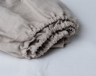 GRAY/GREY Fitted Stone Washed Linen Sheet