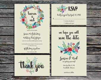 Floral Wreath Wedding Invitation Template Bundle