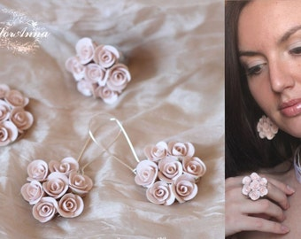 rose jewelry, flower set, wedding stuff, flower pendant, roses earrings, bridesmaids jewellery, ivory roses, ivory earrings, bride jewellery