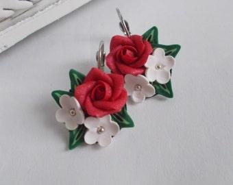 rose earrings, wild flowers, cute earrings, stylish earrings, handmade, gift earrings